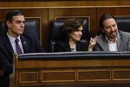 Sánchez, Calvo e Iglesias, el eje del Gobierno del Frente Popular.