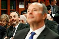 En primer plano, el ministro de Justicia, Juan Carlos Campo, con el presidente del tribunal del 1-O, Manuel Marchena, detrás, en un acto reciente.