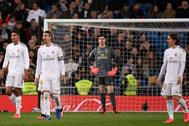Varane, Ramos, Courtois y Modric, tras el empate del Celta en el Bernabéu.