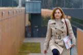 La ex presidenta del Parlament Carme Forcadell sale de prisión, este lunes.