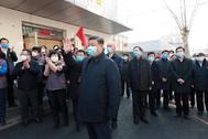 El presidente de China, Xi Jinping, inspecciona el trabajo en prevención y control del coronavirus en Pekín.