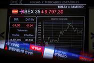 Sesión de cotización en el Palacio de la Bolsa de Madrid.