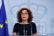 María Jesús Montero, en la rueda de prensa ofrecida este lunes.