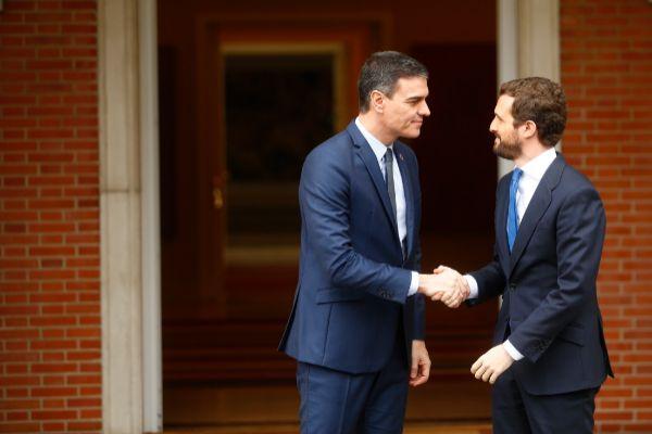 17/02/2020.Foto Javier Barbancho.Madrid. Comunidad de Madrid. Pedro lt;HIT gt;Sánchez lt;/HIT gt; recibe a Pablo lt;HIT gt;Casado lt;/HIT gt;