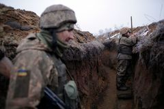 Línea del frente en Zhelobok, en la región de Lugansk, en Ucrania.
