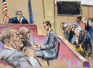 Dibujo de Weinstein frente al jurado, este martes.