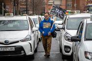 Protesta de taxis, ayer en Valencia.