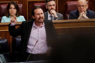 El vicepresidente Pablo Iglesias, ayer durante su intervención en el Congreso.