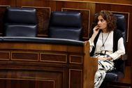 La ministra de Hacienda, María Jesús Montero, hoy en el Congreso de los Diputados
