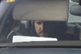 Álex Lequio, en el interior de un coche, en su última revisión médica el pasado 8 de enero.
