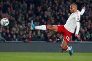 Braithwaite, en un partido con Dinamarca, el pasado noviembre.