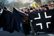 lt;HIT gt;Far-right lt;/HIT gt; groups demonstrate following the 75th anniversary of the WW2 bombings in Dresden