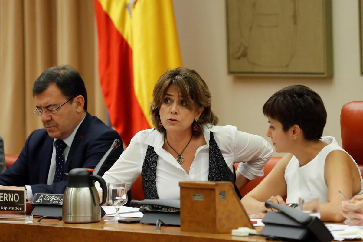 La futuro fiscal general del Estado, Dolores Delgado, en una comparecencia en el Congreso siendo ministra de Justicia.