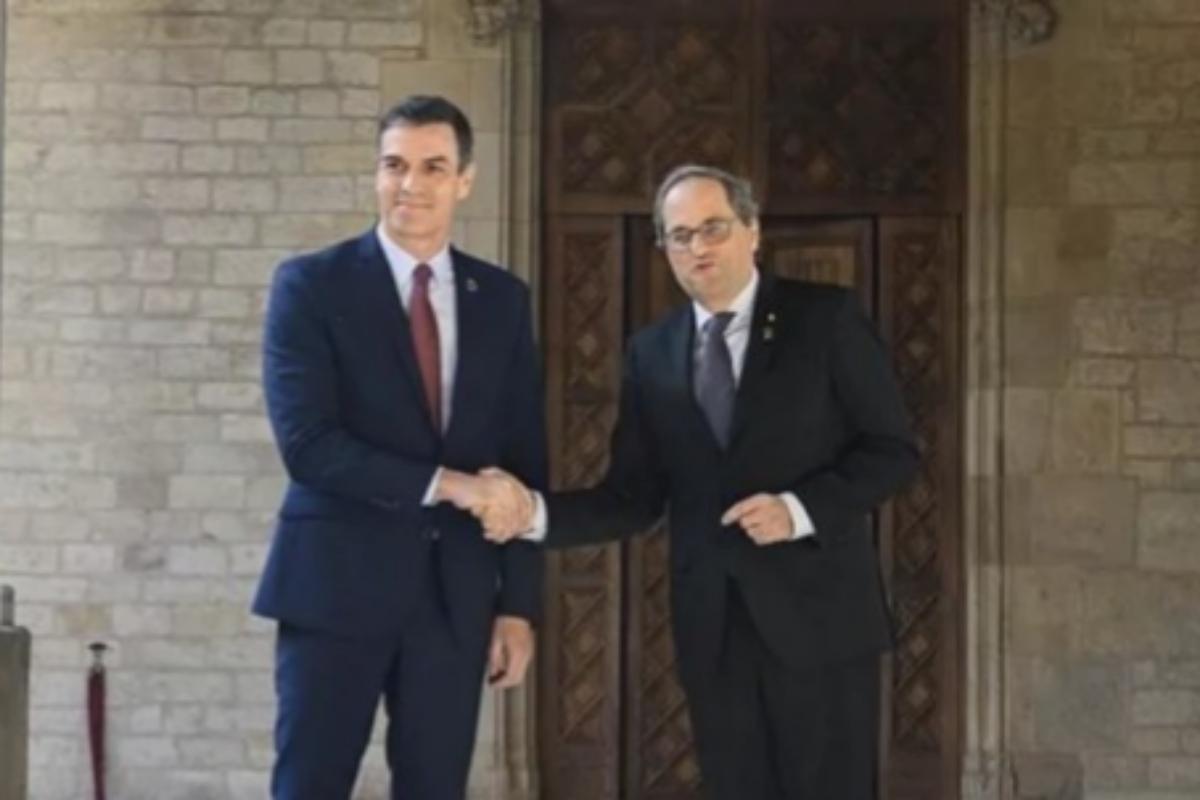 Pedro Sánchez y Quim Torra en la Generalitat.