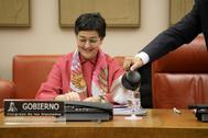 La ministra de Exteriores, Arancha González Laya, durante la comisión.