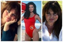 Yasmine Bleeth, en su época de vigilante de la playa (en el centro) y en la actualidad.