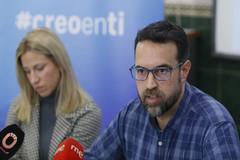 Andrés y María, este jueves en Córdoba en la rueda de prensa.