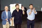 De izqda. a dcha., Jorge Buxadé, Iván Espinosa de los Monteros, Santiago Abascal, Javier Ortega y Rocío Monasterio, en un acto de Vox.