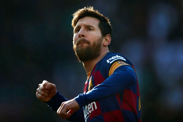GRAF4821. BARCELONA.- El delantero argentino Lionel lt;HIT gt;Messi lt;/HIT gt; celebra su gol en el partido ante el Eibar, correspondiente a la jornada 25 de LaLiga Santander que se disputa este sábado en el estadio Camp Nou de Barcelona.