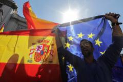 Banderas de España y de la Unión Europea.