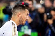 GRAF1451. MADRID.- El centrocampista belga del Real Madrid Eden lt;HIT gt;Hazard lt;/HIT gt;, durante el encuentro de Liga de Primera División ante el Celta de Vigo, correspondiente a la jornada 24 de LaLiga Santander que se disputa este domingo en el estadio Santiago Bernabéu.