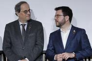 El presidente de la Generalitat, Quim Torra, y su vicepresidente Pere Aragonés.