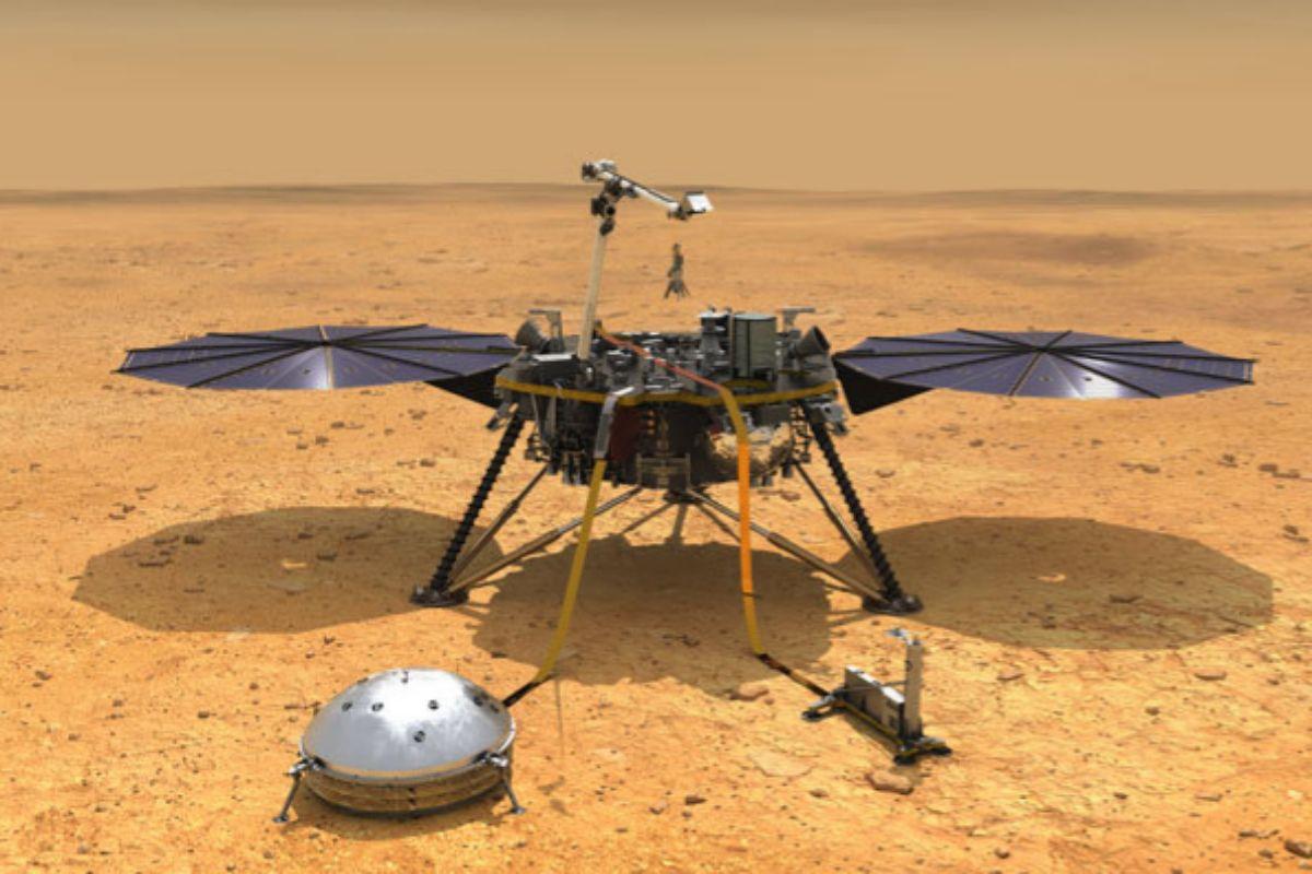 Recreación del robot 'InSight' en Marte