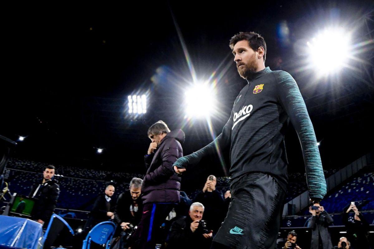 Messi, en el entrenamiento del Barcelona en San Paolo.