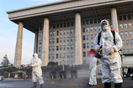 lt;HIT gt;Seoul lt;/HIT gt; (Korea, Republic Of).- Workers spray disinfectants outside South Korea's National Assembly, which has been closed down after it became known that a person confirmed to be infected with the SARS-CoV-2 coronavirus had visited the legislative building in lt;HIT gt;Seoul lt;/HIT gt;, South Korea, 24 February 2020. The disinfection process is set to be carried out in several stages until 26 February 2020. (Corea del Sur, Seúl) EPA/ SOUTH KOREA OUT HANDOUT EDITORIAL USE ONLY/NO SALES