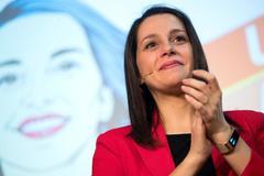 La portavoz de Ciudadanos en el Congreso, Inés Arrimadas, en un acto con afiliados en Barcelona este mes de febrero..
