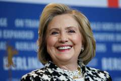 Hillary Clinton ofrece una rueda de prensa en la Berlinale, en Berlín.