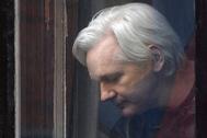 Julian Assange en la embajada de Ecuador en Londres, en mayo de 2017.