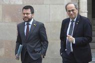 Pere Aragonès y Quim Torra ayer.