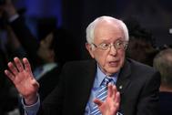 Bernie Sanders en el debate de este martes entre candidatos demócratas.