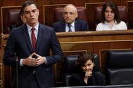 Pedro Sánchez, durante su intervención en la sesión de control al Gobierno.
