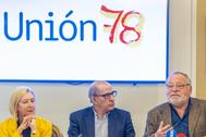 Rosa Díez, Jesús Cuadrado y Fernando Savater, en la presentación de Unión 78.