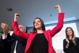 La portavoz de Ciudadanos en el Congreso, Inés Arrimadas, en un acto con afiliados en Barcelona celebrado este mes de febrero.