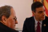 Quim Torra, con Pedro Sánchez y Carmen Calvo este miércoles en La Moncloa.