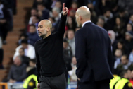 Guardiola y Zidane, durante el Real Madrid - City.