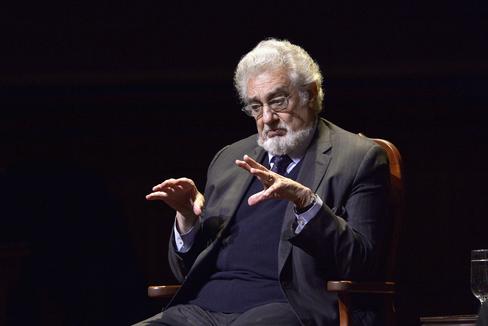 Plácido Domingo, durante una charla en la Universidad de Harvard