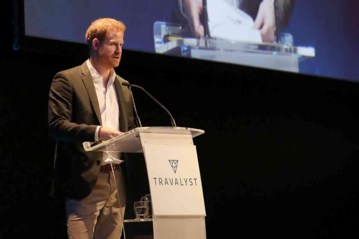 El duque, durante su intervención en la presentación de su proyecto, Travalyst.