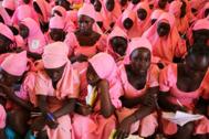 Un grupo de niñas en un colegio de Nigeria, en 2018.