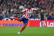 El centrocampista ghanés del Atlético de Madrid Thomas Partey