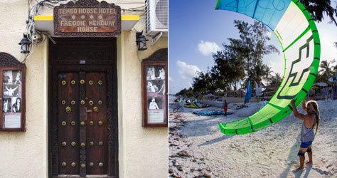 La casa de Freddie Mercury y cometa de kitesurf en Jambiani.