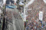A la izquierda, el maratón de Tokio de este año. A la derecha, el de 2019.