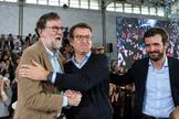 Rajoy, Feijóo y Casado, en Orense.