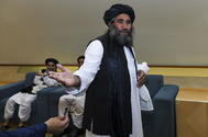 Doha (Qatar).- Mullah Abdul Salam Zaeef, a senior official of Afghanistan's lt;HIT gt;Taliban lt;/HIT gt;, reacts after the signing of a US- lt;HIT gt;Taliban lt;/HIT gt; peace agreement in Doha, Qatar, 29 February 2020. The United States and the lt;HIT gt;Taliban lt;/HIT gt; on 29 February penned a agreement to bring peace to Afghanistan which paves the way for the withdrawal of US troops and intra-Afghan negotiations. (Afganistán, Estados Unidos, Catar) EPA/