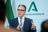 El portavoz del Gobierno de la Junta, Elías Bendodo, tras el Consejo de este lunes.