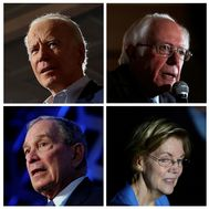 Combination of file photos shows U.S. Democratic presidential candidates, former VP lt;HIT gt;Biden lt;/HIT gt;, Senator Sanders, former NYC Mayor lt;HIT gt;Bloomberg lt;/HIT gt; and Senator Warren
