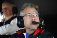 Hampson, en el garaje del Dale Coyne Racing.